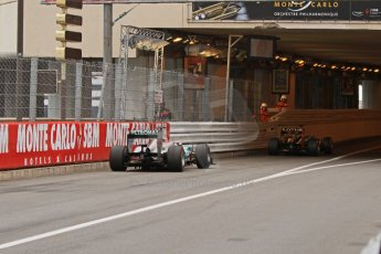 © Octane Photographic Ltd. 2012. F1 Monte Carlo - Race. Sunday 27th May 2012. Michael Schumacher - Mercedes, chases Kimi Raikkonen - Lotus, into the tunnel. Digital Ref : 0357cb7d0091