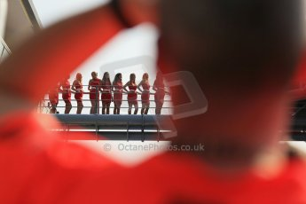 World © Octane Photographic Ltd. Formula 1 Italian GP, Podium ceremony 9th September 2012. The grid girls line the victor's route to the podium. Digital Ref : 0519lw1d8979