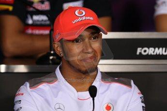 World © Octane Photographic Ltd. Formula 1 Italian GP, Press Conference 6th September 2012 - Lewis Hamilton - Vodafone McLaren Mercedes. Digital Ref : 0494lw7d5150
