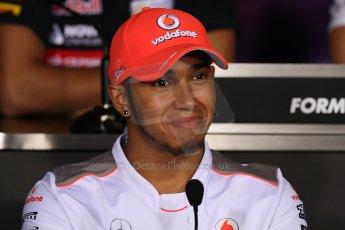 World © Octane Photographic Ltd. Formula 1 Italian GP, Press Conference 6th September 2012 - Lewis Hamilton - Vodafone McLaren Mercedes. Digital Ref : 0494lw7d5155