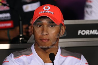 World © Octane Photographic Ltd. Formula 1 Italian GP, Press Conference 6th September 2012 - Lewis Hamilton - Vodafone McLaren Mercedes. Digital Ref : 0494lw7d5238