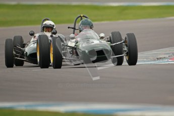 © Octane Photographic Ltd. Motors TV day – Donington Park,  Saturday 31st March 2012. Formula Junior 2nd session, Michael Hibberd - Lotus 27 and Denis Welch - Lotus 22. Digital ref : 0268cb1d0108