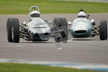 © Octane Photographic Ltd. Motors TV day – Donington Park,  Saturday 31st March 2012. Formula Junior 2nd session, Chris Drake - Elva 300 and Jonathan Hughes - Brabham BT6. Digital ref : 0268cb1d0195