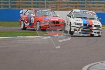 © Octane Photographic Ltd. Motors TV day – Donington Park,  Saturday 31st March 2012. Kumho BMW Championship, Stuart Laws - BMW E36 M3 and Darren Fielding - BMW M3. Digital ref : 0266cb7d6061