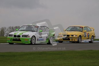 © Octane Photographic Ltd. Motors TV day – Donington Park, Saturday 31st March 2012. Kumho BMW Championship, Neil Newstead - BMW E36 and Richard Marsh - BMW E36 M3. Digital ref : 0266lw7d7703