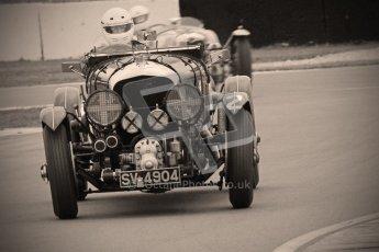 © Octane Photographic Ltd. Motors TV day – Donington Park, Saturday 31st March 2012. VSCC Pre-War Sportscars with a retro look edit, Nigel Batchelor - Bentley 4 1/2 Blower. Digital ref : 0270cb1d9070
