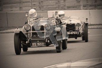 © Octane Photographic Ltd. Motors TV day – Donington Park, Saturday 31st March 2012. VSCC Pre-War Sportscars with a retro look edit, Roger Buxton - Alfa Romeo 6C Zagato Spyder. Digital ref : 0270cb1d9087