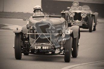 © Octane Photographic Ltd. Motors TV day – Donington Park,  Saturday 31st March 2012. VSCC Pre-War Sportscars with a retro look edit, Norman Pemberton - Talbot 95/105. Digital ref : 0270cb1d9113