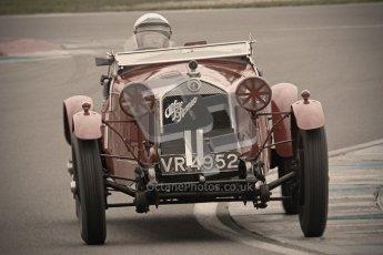 © Octane Photographic Ltd. Motors TV day – Donington Park,  Saturday 31st March 2012. VSCC Pre-War Sportscars with a retro look edit, Robin Toone - Alfa Romeo 1750. Digital ref : 0270cb1d9118