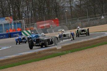 © Octane Photographic Ltd. Motors TV day – Donington Park,  Saturday 31st March 2012. VSCC Pre-War Sportscars, Marcus Black - Talbot Lago T23 and David Furnell - Riley Brooklands. Digital ref : 0265lw7d7201