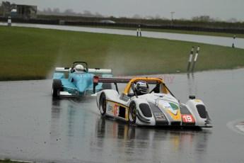 © Jones Photography. OSS Championship Round 1, Snetterton, 28th April 2012. Gary Ramsdale, Radical SR3 RS and Ginger Marshall, Bowlby Mark 2. Digital Ref: 0390CJ7D0648