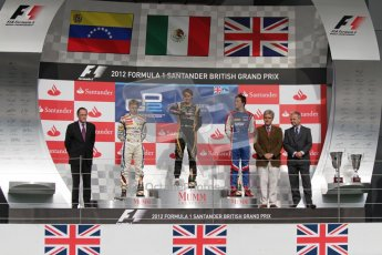 © 2012 Octane Photographic Ltd. British GP Silverstone - Saturday 7th July 2012 - GP2 Race 1, Johnny Cecotto, Esteban Gutierrez and Jolyon Palmer on the podium. Digital Ref : 0400lw7d6656
