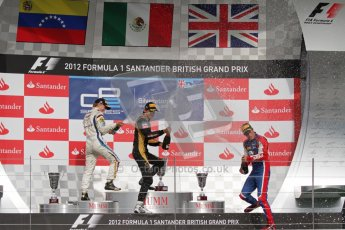 © 2012 Octane Photographic Ltd. British GP Silverstone - Saturday 7th July 2012 - GP2 Race 1, champagne fight with Johnny Cecotto, Esteban Gutierrez and Jolyon Palmer. Digital Ref : 0400lw7d6755