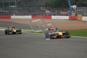© 2012 Octane Photographic Ltd. British GP Silverstone - Sunday 8th July 2012 - GP2 Race 2 - Dams in formation heading to 2nd and 3rd places - Davide Valsecchi and Felipe Nasr. Digital Ref : 0401lw7d7301