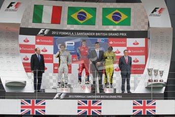 © 2012 Octane Photographic Ltd. British GP Silverstone - Sunday 8th July 2012 - GP2 Race 2 - Davide Valsecchi, Luiz Razia and Felipe Nasr on the podium. Digital Ref : 0401lw7d7599