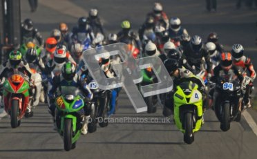© Octane Photographic Ltd. Thundersport – Donington Park -  24th March 2012. RLRmotorsports.com 600 Sportsman Elite, the pack heads out of the pitlane. Digital ref : 0260cb7d3381