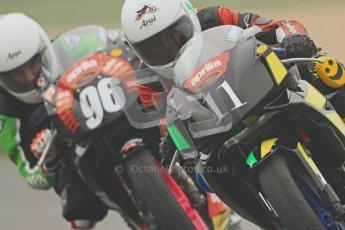 © Octane Photographic Ltd. Thundersport – Donington Park -  24th March 2012. Aprillia Superteens, Joe Sheldon-Show and Conor Wheeler. Digital ref : 0252cb7d1639