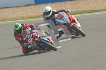 © Octane Photographic Ltd. Thundersport – Donington Park -  24th March 2012. Morello Services Thundersport GP1 / Superstock 1000, Donald MacFadyen and Adam Robinson. Digital ref : 0258cb7d3056