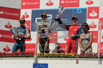 © 2012 Octane Photographic Ltd. European GP Valencia - Saturday 23rd June 2012 - GP2 Race 1 Podium. Esteban Gutierrez, Marcus Ericsson and Luiz Razia. Digital Ref :  0372lw1d5858