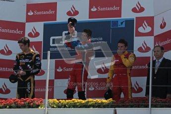 © 2012 Octane Photographic Ltd. European GP Valencia - Sunday 24th June 2012 - GP2 Race 2 Podium - Luiz Razia - Arden International, James Calado - Lotus GP and Fabio Leimer - Racing Engineering. Digital Ref : 0375lw1d6596