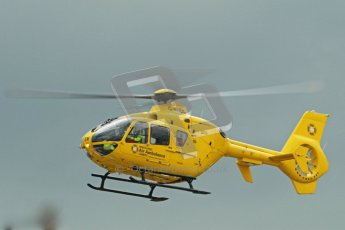 © Octane Photographic Ltd. Wirral 100, 28th April 2012. Forgotten era and Pre-Injection. Medical helicopter arrival. Digital ref : 0309cb1d5376
