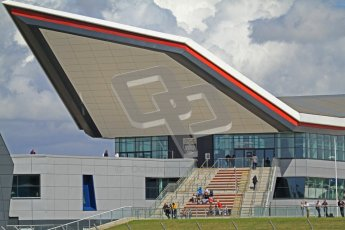 © Octane Photographic Ltd. World Superbike Championship – Silverstone, 2nd Free Practice. The Silverstone Wing West Entrance. Saturday 4th August 2012. Digital Ref : 0446cb7d1673