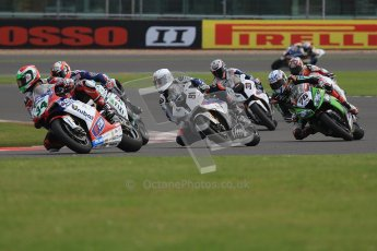 © Octane Photographic Ltd. World Superbike Championship – Silverstone, 2nd Qualifying Practice. Saturday 4th August 2012. The pack heads into Luffield at the start of the session. Digital Ref : 0445cb7d1404