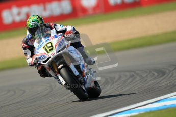 © Octane Photographic Ltd. 2012 World Superbike Championship – European GP – Donington Park. Friday 11th May 2012. WSBK Free Practice. Chaz Davies - Aprillia RSV4 Factory. Digital Ref : 0328cb1d2880