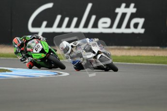 © Octane Photographic Ltd 2012. World Superbike Championship – European GP – Donington Park, Sunday 13th May 2012. Race 1. Leon Haslam and Tom Sykes. Digital Ref : 0335cb1d5114