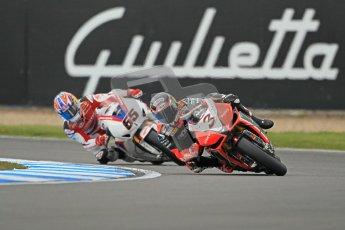 © Octane Photographic Ltd 2012. World Superbike Championship – European GP – Donington Park, Sunday 13th May 2012. Race 1. Max Biaggi and Jonathan Rea. Digital Ref : 0335cb1d5123