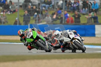 © Octane Photographic Ltd 2012. World Superbike Championship – European GP – Donington Park, Sunday 13th May 2012. Race 1. Tom Sykes, Leon Haslam and Max Biaggi. Digital Ref : 0335cb1d5418