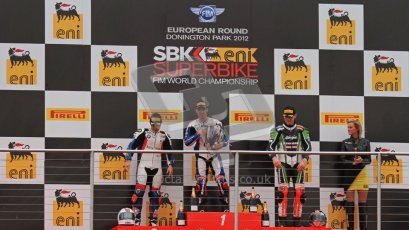 © Octane Photographic Ltd 2012. World Superbike Championship – European GP – Donington Park, Sunday 13th May 2012. Race 1 Podium. Marco Melandri, Leoon Haslam and Tom Sykes on the podium. Digital Ref : 0335lw7d7527