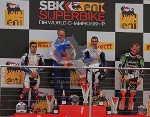 © Octane Photographic Ltd 2012. World Superbike Championship – European GP – Donington Park, Sunday 13th May 2012. Race 1 Podium. Marco Melandri, Leoon Haslam and Tom Sykes on the podium. Digital Ref : 0335lw7d7559