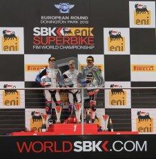 © Octane Photographic Ltd 2012. World Superbike Championship – European GP – Donington Park, Sunday 13th May 2012. Race 1 Podium. Marco Melandri, Leoon Haslam and Tom Sykes on the podium. Digital Ref : 0335lw7d7601