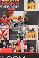 © Octane Photographic Ltd 2012. World Superbike Championship – European GP – Donington Park, Sunday 13th May 2012. Race 2. Tom Sykes on the podium. Digital Ref : 0337cb1d5966