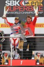 © Octane Photographic Ltd 2012. World Superbike Championship – European GP – Donington Park, Sunday 13th May 2012. Race 2. Jonathan Rea and team Boss on the top step of the podium. Digital Ref : 0337cb1d5988