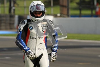 © Octane Photographic Ltd 2012. World Superbike Championship – European GP – Donington Park, Sunday 13th May 2012. Leon Haslam is not impressed after having been taken off on the final corner of the final race whilst leading. Race 2. Digital Ref : 0337lw7d8568