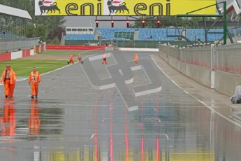 © Octane Photographic Ltd. World Superbike Championship – Silverstone, Race 2. Sunday 5th August 2012. Standing water on the start/finish line after the race was red flagged. Digital Ref :