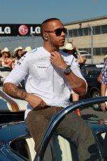 World © Octane Photographic Ltd. F1 USA GP, Austin, Texas, Circuit of the Americas (COTA), Sunday 17th November 2013 - Drivers' parade. Mercedes AMG Petronas F1 W04 – Lewis Hamilton. Digital Ref : 0860lw1d2374