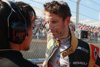 World © Octane Photographic Ltd. F1 USA GP, Austin, Texas, Circuit of the Americas (COTA), Sunday 17th November 2013 - Grid. Lotus F1 Team E21 - Romain Grosjean. Digital Ref : 0860lw1d2643