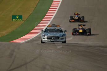 World © Octane Photographic Ltd. F1 USA GP, Austin, Texas, Circuit of the Americas (COTA), Sunday 17th November 2013 - Race. The Mercedes AMG SLS Safety car ahead of Vettel and Grosjean. Digital Ref : 0861lw1d2759