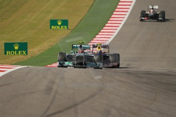 World © Octane Photographic Ltd. F1 USA GP, Austin, Texas, Circuit of the Americas (COTA), Sunday 17th November 2013 - Race. Mercedes AMG Petronas F1 W04 – Lewis Hamilton and Infiniti Red Bull Racing RB9 - Mark Webber. Digital Ref : 0861lw1d2876