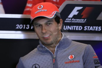 World © Octane Photographic Ltd. USA F1 Grand Prix, Austin, Texas, Circuit of the Americas (COTA). FIA Press Conference, Thursday 14th November 2013. Sergio Perez – Vodafone McLaren Mercedes.Digital Ref : 0851lw1d2340