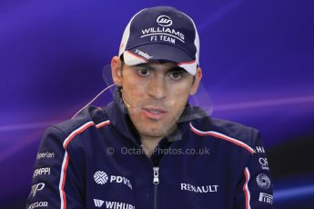 World © Octane Photographic Ltd. USA F1 Grand Prix, Austin, Texas, Circuit of the Americas (COTA). FIA Press Conference, Thursday 14th November 2013. Pastor Maldonado - Williams. Digital Ref : 0851lw1d2499