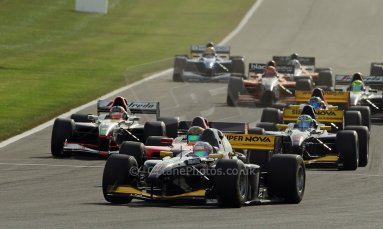 World © Octane Photographic Ltd./Carl Jones. Sunday September 1st 2013, AutoGP Race 1, Donington Park - Narain Karthikeyan, Super Nova leads the pack. Digital Ref : 0804cj1d1316