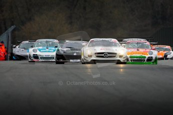 World © Octane Photographic Ltd. Avon Tyres British GT Championship. Monday 1st April 2013 Oulton Park – Race 1. The Mercedes-Benz SLS AMG GT3 of Fortec Motorsports driven by Benjo Hetherington and Ollie Hancock leads the pack. Digtal Ref : 0623ce1d8742