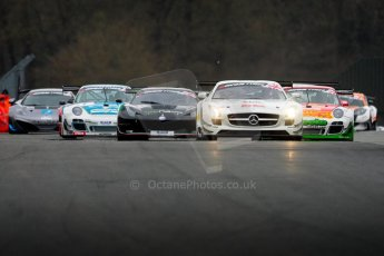 World © Octane Photographic Ltd. Avon Tyres British GT Championship. Monday 1st April 2013 Oulton Park – Race 1. The Mercedes-Benz SLS AMG GT3 of Fortec Motorsports driven by Benjo Hetherington and Ollie Hancock leads the pack. Digtal Ref : 0623ce1d8744