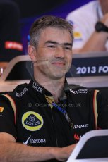 World © Octane Photographic Ltd. F1 Belgian GP - Spa - Francorchamps. Friday 23rd August 2013. FIA Friday Press Conference. Nick Chester - Lotus F1 Team. Digital Ref : 0789lw1d8106