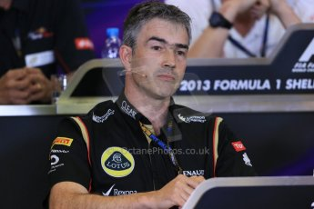 World © Octane Photographic Ltd. F1 Belgian GP - Spa - Francorchamps. Friday 23rd August 2013. FIA Friday Press Conference. Nick Chester - Lotus F1 Team. Digital Ref : 0789lw1d8117