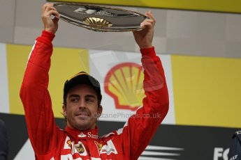 World © Octane Photographic Ltd. F1 Belgian GP - Spa-Francorchamps, Sunday 25th August 2013 - Podium. Scuderia Ferrari F138 - Fernando Alonso lifts his trophy for 2nd place. Digital Ref : 0798lw1d0739